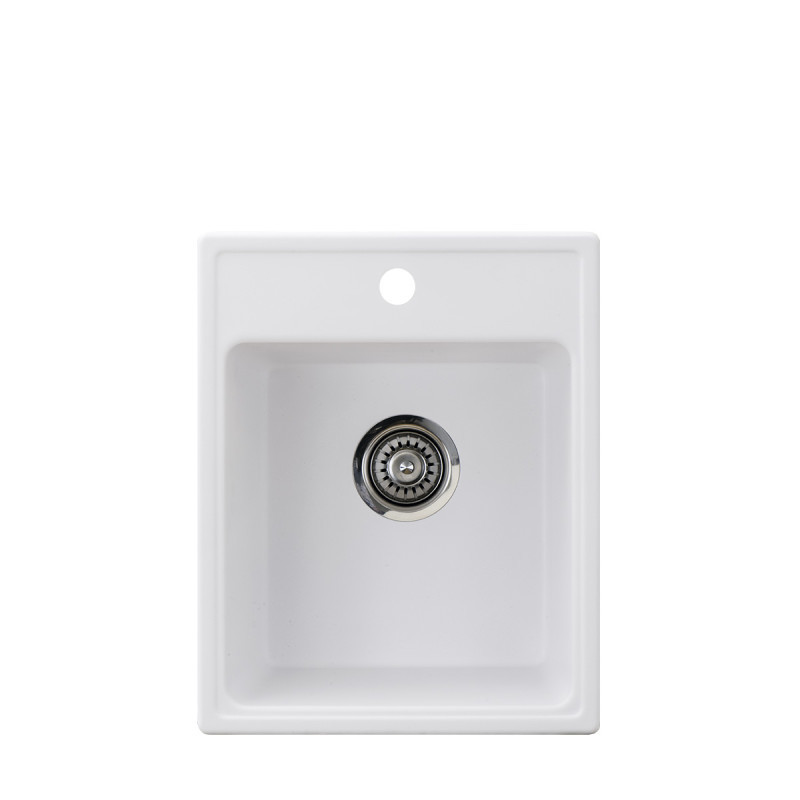 Metalac granitni usadni sudoper xQuadro 40 bijela 400x500 Ø90