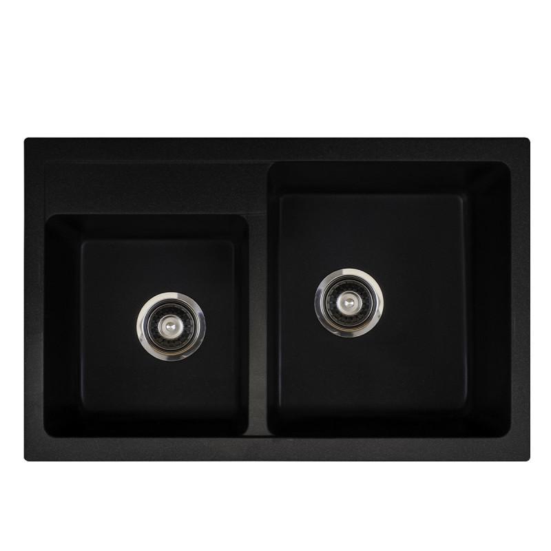Metalac granitni usadni sudoper xQuadro Plus 2D crna 780x500 Ø90
