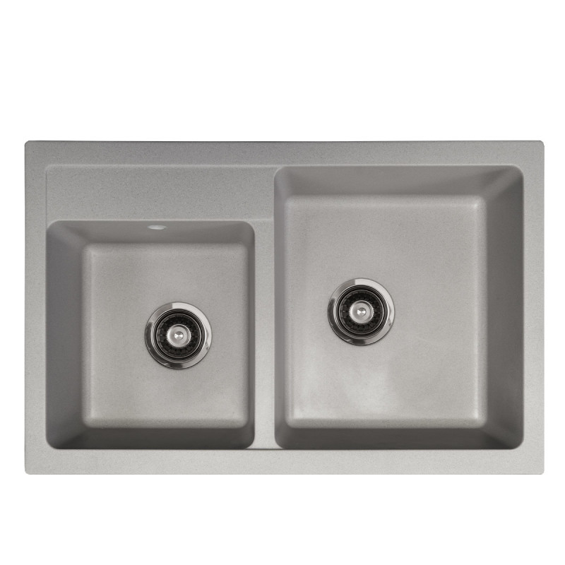 Metalac granitni usadni sudoper xQuadro Plus 2D siva 780x500 Ø90